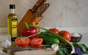Картинка перец, помидоры, масло, базилик, овощи, чеснок, огурцы, зелень, ножи, лук
