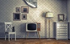 Картинка обои, лампа, телевизор, стул, картины, тумбочка, квартира, Интерьер