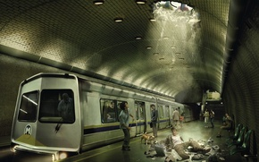 Картинка фантазия, метро, испуг