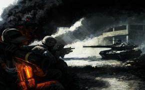 Обои свет, пепел, оружие, дым, здание, арт, солдаты, танк, пехота
