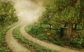 Картинка дорога, лес, трава, деревья, бабочки, природа, туман, блики, рисунок, забор, топор, поленья