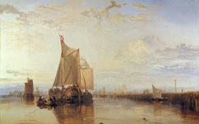 Картинка корабль, картина, порт, парус, морской пейзаж, Уильям Тёрнер