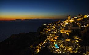 Картинка море, закат, огни, остров, Греция, Эгейского