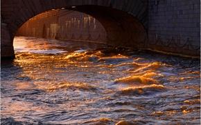 Картинка волны, вода, солнце, мост, город, отблеск, Стокгольм, Швеция, Sweden, Stockholm, Norrbro