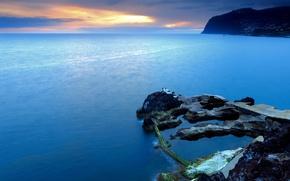 Обои море, португалия, скалы, закат