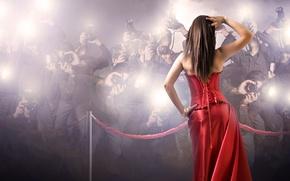 Картинка девушка, красное платье, папарацци