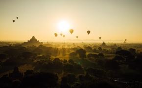 Картинка Мьянма, Бирма, небо, аэростат, солнце