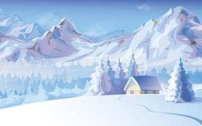 Картинка снег, деревья, горы, дым, Зима, домик