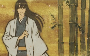 Картинка бамбук, лепестки, самурай, кимоно, gintama, гинтама, silver soul, kotarou katsura, by hideaki sorachi