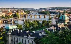 Картинка небо, дома, Прага, Чехия, панорама, мосты, река Влтава