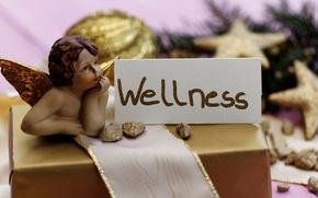 Обои Новый Год, подарок, ангел, украшения, Рождество, angel, balls, wellness, Christmas, New Year, шары, decoration
