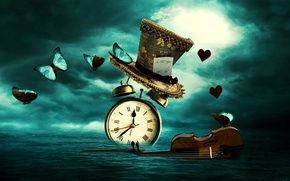 Картинка fantasy, time, watch, butterflies