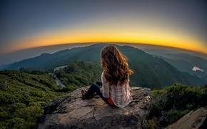 Картинка девушка, пейзаж, камень, вид, обзор