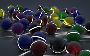 Картинка поверхность, линии, отражение, полосы, шары, арт, разные, сферы