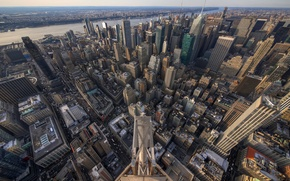 Картинка город, высота, небоскребы, New York, панорамма