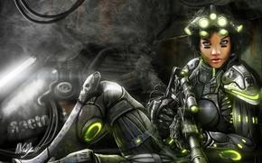 Картинка девушка, оружие, дым, арт, солдат, фонари, костюм, starcraft, броня