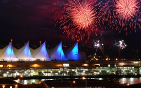 Картинка салют, Ванкувер, фейерверк, День Канады