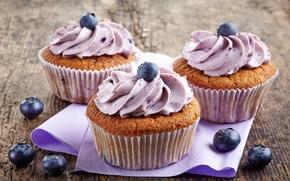 Картинка ягоды, черника, пирожное, десерт, сладкое, sweet, cupcake, кекс, cream, dessert