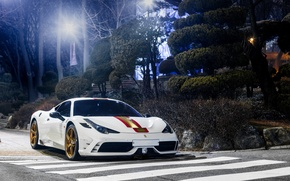 Картинка Ferrari, 458, Night, White, Speciale