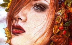 Картинка взгляд, листья, девушка, лицо, ягоды, волосы, макияж, живопись, красные губы