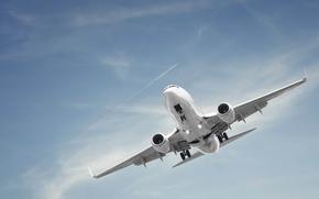 Картинка небо, самолет, след
