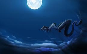 Картинка полет, луна, дракон, spirited away, унесенные призраками