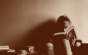 Обои читает, чашки, книга