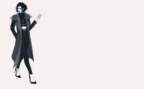 Картинка девушка, сигарета, туфли, пальто, идет