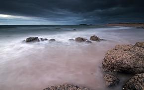 Картинка море, небо, тучи, камни, берег, вечер, Шотландия, Великобритания