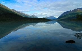 Картинка лес, облака, горы, озеро, отражение