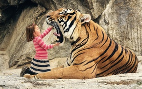 Картинка тигр, пасть, девочка