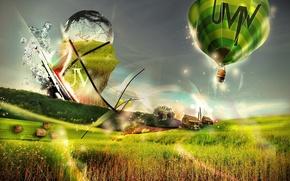 Картинка полет, радость, яркий, сияние, воздушный шар, путешествия, впечатления