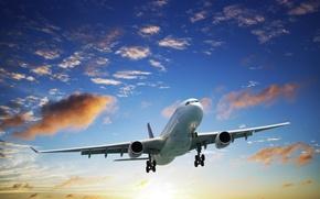 Картинка солнце, облака, полет, самолет, взлет, в небе, пассажирский, авиалайнер