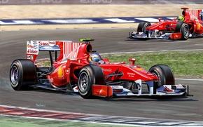 Картинка рисунок, команда, гонки, Ferrari, пилот, болид, Fernando Alonso, Фелипе Масса, Фернандо Алонсо, Формула-1, Scuderia Ferrari, …