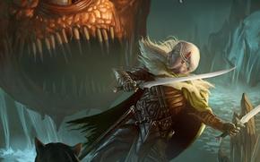 Картинка эльф, монстр, битва, сабли, темный эльф, иллюстрация к книге, Роберт Сальваторе, Гвенвивар, Дриззт До'Урден, Drizzt, …
