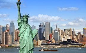 Обои New York City, Statue of Liberty, metropolis