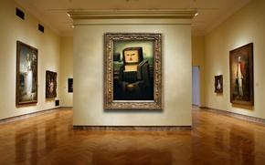 Картинка стена, галерея, картины, кубизм, мона лиза