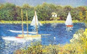Обои пейзаж, река, лодка, картина, парус, Клод Моне, Сена в Аржантёе