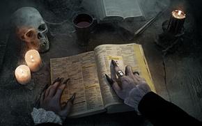 Обои ведьма, журнал, ногти