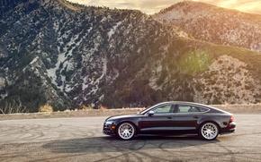 Картинка горы, Audi, ауди, черная, wheels, side, black