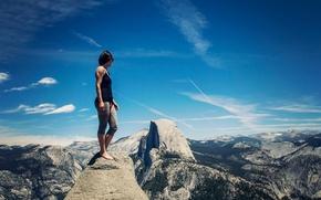 Картинка девушка, вид, Калифорния, Йосемити, Yosemite Valley, Сьерра-Невада, живописная долина