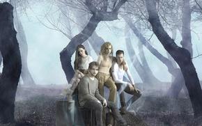 Картинка girl, forest, trees, woman, fog, man, boy, vampire, brunette, blonde, serial, cast, characters, werewolf, Letha …