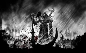 Картинка смерть, кровь, рисунок, коса, ворон, Darksiders 2, Darksiders II