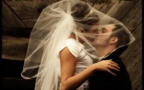 Обои Поцелуй, Невеста, Свадьба, Фата