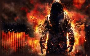 Картинка огонь, пламя, дым, существо, демон, призрак, капюшон, балахон