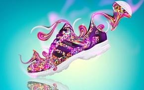 Картинка Дизайн, Стиль, Одежда, Адидас, Fantasy, Фотошоп, Style, Plastic, Adidas, Creative, Side, Яркие Краски, Shoes, Обувь, …