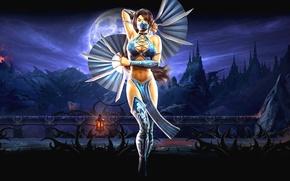 Картинка ночь, замок, Луна, маска, веер, повязка, Mortal Kombat, Китана, шнуровка