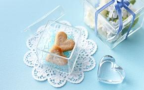 Картинка подарок, сердце, прозрачная, печенье, сердечки, коробочка
