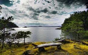 Картинка парк, river, горы, скамейка, bench, вода, trees, sky, река, облака, лес, park, clouds, forest, природа, ...
