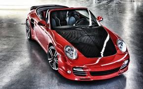 Картинка красный, 997, Porsche, turbo, red, карбон, кабриолет, порше, carbon, cabrio